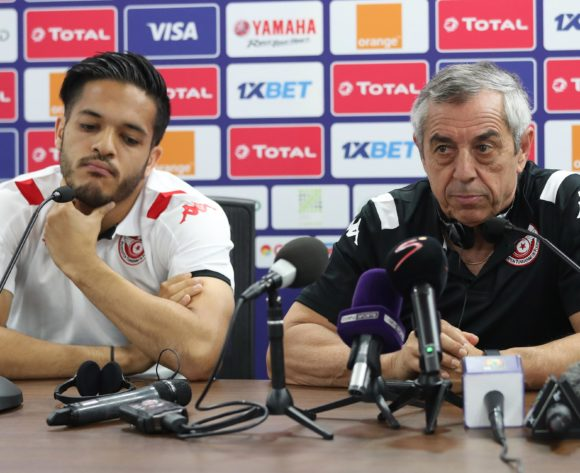 Wajdi Kechrida (l) and Alain Giresse, coach of Tunisia address media during the 2019 Africa Cup of Nations Finals Tunisia Press Conference at the Suez Stadium, Suez, Egypt on 23 June 2019 ©Gavin Barker/BackpagePix