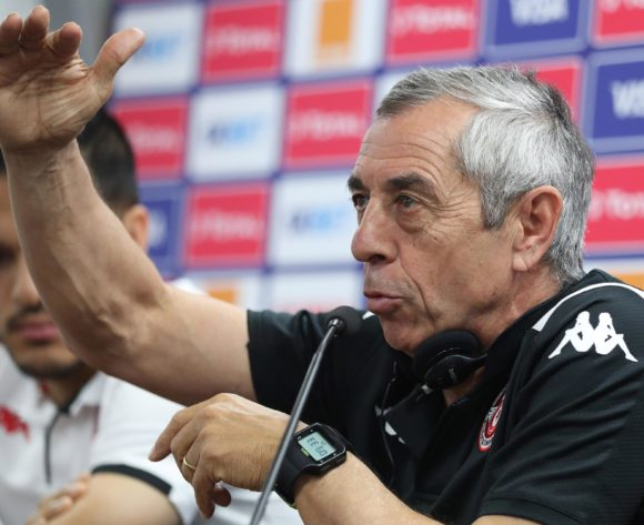 Alain Giresse, coach of Tunisia addresses media during the 2019 Africa Cup of Nations Finals Tunisia Press Conference at the Suez Stadium, Suez, Egypt on 23 June 2019 ©Gavin Barker/BackpagePix
