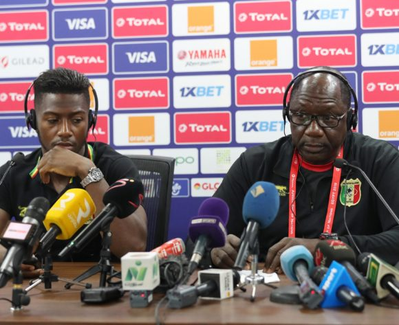 Abdoulay Diaby (l) and Mohamed Magassouba, coach of Mali address media during the 2019 Africa Cup of Nations Finals MaliPress Conference at the Suez Stadium, Suez, Egypt on 23 June 2019 ©Gavin Barker/BackpagePix