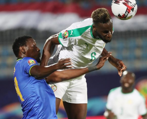 Salif Sane of Senegal wins header against John Bocco of Tanzania during the 2019 Africa Cup of Nations Finals football match between Senegal and Tanzania at 30 June Stadium, Ciro, Egypt on 23 June 2019 ©Gavin Barker/BackpagePix