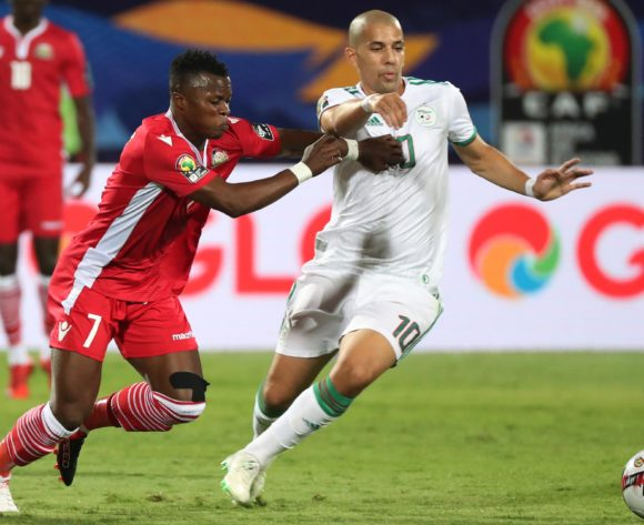 Masika Ayub of Kenya challenges Sofiane Feghouli of Algeria during the 2019 Africa Cup of Nations Finals football match between Algeria and Kenya at 30 June Stadium, Cairo, Egypt on 23 June 2019 ©Gavin Barker/BackpagePix