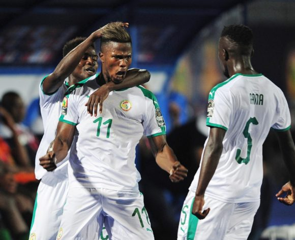 Keita Balde of Senegal celebrates his goal with teammates Moussa Waque and Idrissa Gana Gueye of Senegal during the Africa Cup of Nations 2019 Finals game between Senegal and Tanzania at 30 June Stadium in Cairo, Egypt on 23 June 2019 © Ryan Wilkisky/BackpagePix