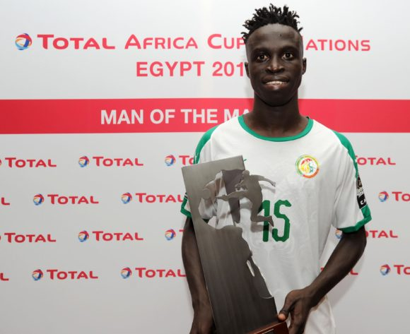 Krepin Diatta of Senegal receives the Total Man of the Match award after the Africa Cup of Nations 2019 Finals game between Senegal and Tanzania at 30 June Stadium in Cairo, Egypt on 23 June 2019 © Ryan Wilkisky/BackpagePix
