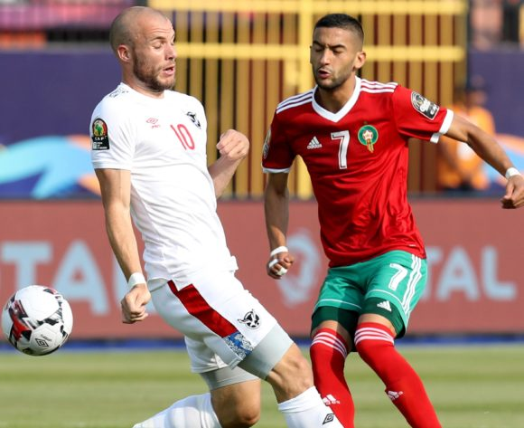 Hakim Ziyech of Morocco challenged by Manfred Starke of Namibia during the 2019 Africa Cup of Nations Finals match between Morocco and Namibia at Training at Al-Salaam Stadium, Cairo, Egypt on 23 June 2019 ©Samuel Shivambu/BackpagePix