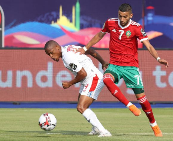 Riaan Hanamub of Namibia challenged by Hakim Ziyech of Morocco during the 2019 Africa Cup of Nations Finals match between Morocco and Namibia at Training at Al-Salaam Stadium, Cairo, Egypt on 23 June 2019 ©Samuel Shivambu/BackpagePix