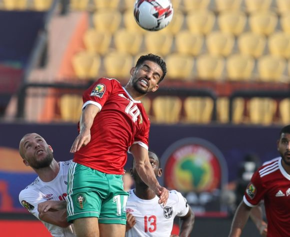 M'bark Boussoufa of Morocco challenged by Manfred Starke of Namibia during the 2019 Africa Cup of Nations Finals match between Morocco and Namibia at Training at Al-Salaam Stadium, Cairo, Egypt on 23 June 2019 ©Samuel Shivambu/BackpagePix