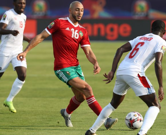 Nordin Amrabat of Morocco challenged by Larry Horaeb of Namibia during the 2019 Africa Cup of Nations Finals match between Morocco and Namibia at Training at Al-Salaam Stadium, Cairo, Egypt on 23 June 2019 ©Samuel Shivambu/BackpagePix