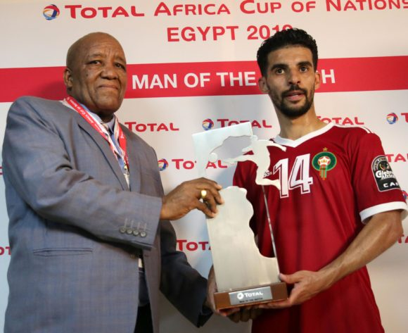 M'bark Boussoufa of Morocco won Man of the match during the 2019 Africa Cup of Nations Finals match between Morocco and Namibia at Training at Al-Salaam Stadium, Cairo, Egypt on 23 June 2019 ©Samuel Shivambu/BackpagePix