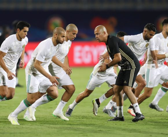 Algeria players warm up during the 2019 Africa Cup of Nations Finals football match between Algeria and Kenya at 30 June Stadium, Cairo, Egypt on 23 June 2019 ©Samuel Shivambu/BackpagePix