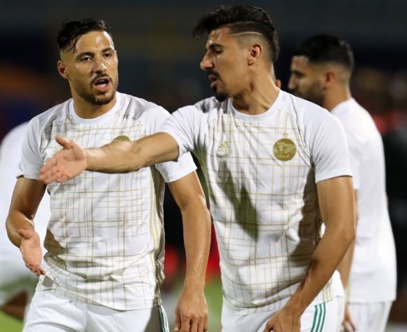 Mohamed Belaili and Baghdad Bounedjah of Algeria warm up during the 2019 Africa Cup of Nations Finals football match between Algeria and Kenya at 30 June Stadium, Cairo, Egypt on 23 June 2019 ©Samuel Shivambu/BackpagePix