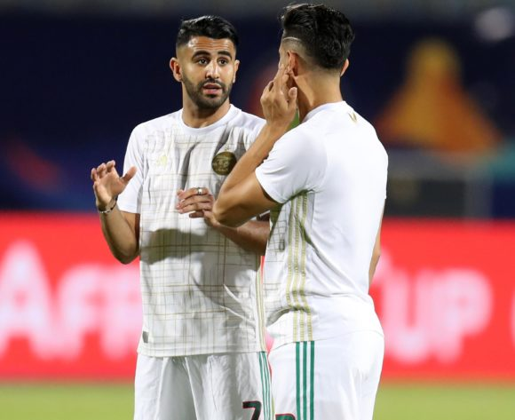 Riyad Mahrez and Baghdad Bounedjah of Algeria warm up during the 2019 Africa Cup of Nations Finals football match between Algeria and Kenya at 30 June Stadium, Cairo, Egypt on 23 June 2019 ©Samuel Shivambu/BackpagePix