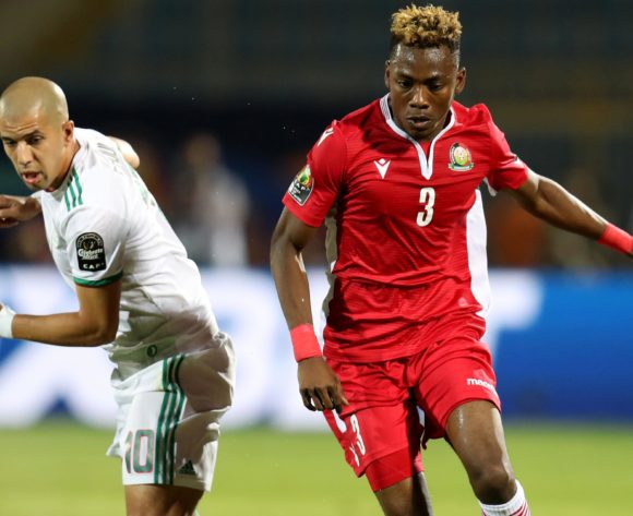 Aboud Omar of Kenya challenged by Sofiane Feghouli of Algeria during the 2019 Africa Cup of Nations Finals football match between Algeria and Kenya at 30 June Stadium, Cairo, Egypt on 23 June 2019 ©Samuel Shivambu/BackpagePix