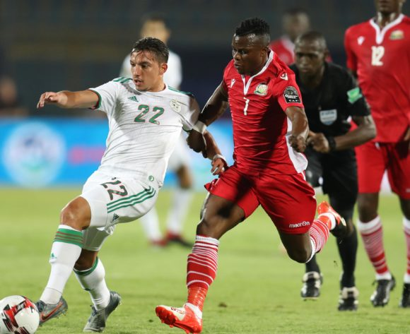 Ismael Bennacer of Algeria challenged by Masika Ayub of Kenya during the 2019 Africa Cup of Nations Finals football match between Algeria and Kenya at 30 June Stadium, Cairo, Egypt on 23 June 2019 ©Samuel Shivambu/BackpagePix