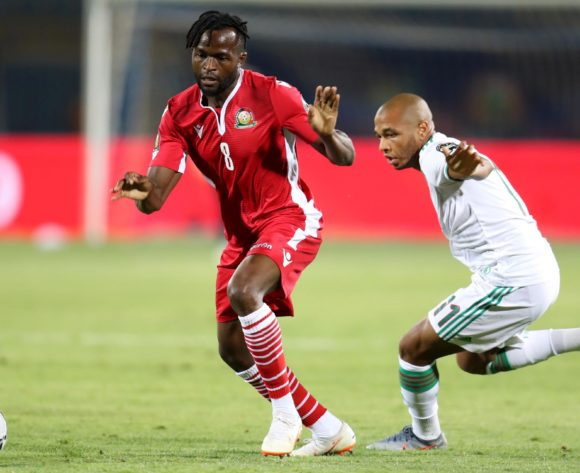 Johanna Omolo of Kenya challenged by Mohamed Belaili of Algeria during the 2019 Africa Cup of Nations Finals football match between Algeria and Kenya at 30 June Stadium, Cairo, Egypt on 23 June 2019 ©Samuel Shivambu/BackpagePix