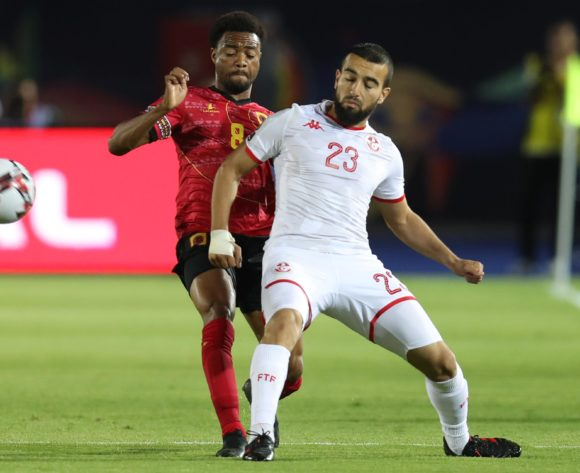 Sliti Naim of Tunisia challenged by Manuel Troco Paizo of Angola during the 2019 Africa Cup of Nations Finals football match between Tunisia and Angola at Suez Army Stadium, Suez, Egypt on 24 June 2019 ©Samuel Shivambu/BackpagePix