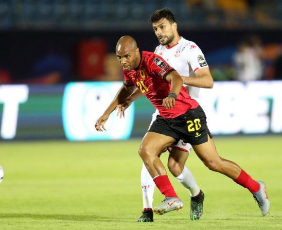 Wilson Eduardo of Angola challenged by Oussama Hadadi of Tunisia during the 2019 Africa Cup of Nations Finals football match between Tunisia and Angola at Suez Army Stadium, Suez, Egypt on 24 June 2019 ©Samuel Shivambu/BackpagePix