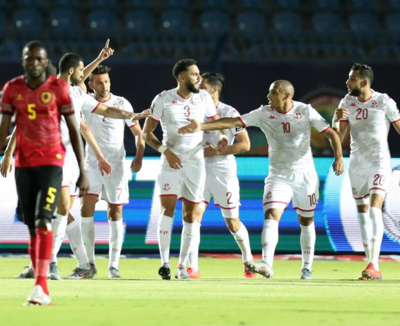 Youssef Msakni of Tunisia celebrates scoring a penalty with teammates during the 2019 Africa Cup of Nations Finals football match between Tunisia and Angola at Suez Army Stadium, Suez, Egypt on 24 June 2019 ©Samuel Shivambu/BackpagePix