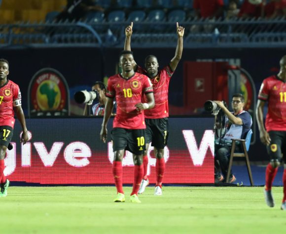 Djalma Campos of Angola celebrates a goal with teammates during the 2019 Africa Cup of Nations Finals football match between Tunisia and Angola at Suez Army Stadium, Suez, Egypt on 24 June 2019 ©Samuel Shivambu/BackpagePix