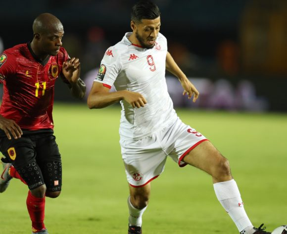 Anice Badri of Tunisia challenged by Geraldo Da Costa of Angola during the 2019 Africa Cup of Nations Finals football match between Tunisia and Angola at Suez Army Stadium, Suez, Egypt on 24 June 2019 ©Samuel Shivambu/BackpagePix