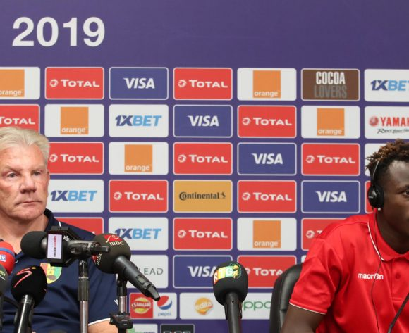 Paul Put, coach of Guinea with Issiaga Sylla of Guinea during the 2019 Africa Cup of Nations Finals Guinea Press Conference at the Alexandria Stadium, Alexandria on the 25 June 2019 ©Muzi Ntombela/BackpagePix