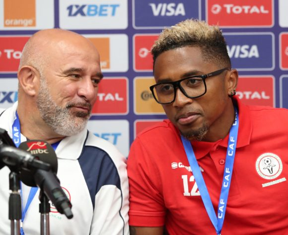 Nicolas Dupuis, coach of Madagascar with Lalaina Henintsoa Enjanahary of Madagascar during the 2019 Africa Cup of Nations Finals Madagascar Press Conference at the Alexandria Stadium, Alexandria on the 25 June 2019 ©Muzi Ntombela/BackpagePix