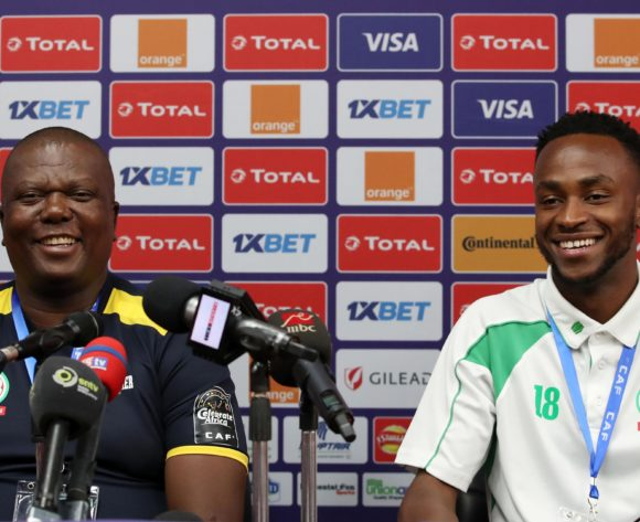 Olivier Niyungeko, coach of Burundi with Saido Berahino of Burundi during the 2019 Africa Cup of Nations Finals Burundi Press Conference at the Alexandria Stadium, Alexandria on the 25 June 2019 ©Muzi Ntombela/BackpagePix