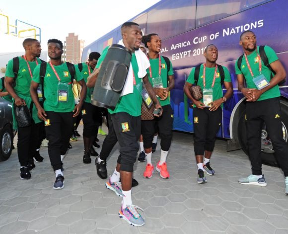 Cameroon players arrive shortly before the 2019 Africa Cup of Nations Finals game between Cameroon and Guinea-Bissau at Ismailia Stadium in Ismailia, Egypt on 25 June 2019 © Ryan Wilkisky/BackpagePix