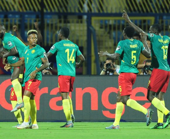 Cameroon celebrate after Stephane Bahoken of Cameroon scores during the 2019 Africa Cup of Nations Finals game between Cameroon and Guinea-Bissau at Ismailia Stadium in Ismailia, Egypt on 25 June 2019 © Ryan Wilkisky/BackpagePix