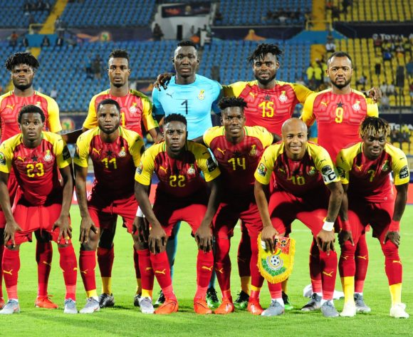 Ghana Team picture (back row l-r) Thomas Teye Partey, John Boye, Richard Ofori, Nuhu Adams Kasim, Jordan Ayew (front row l-r) Thomas Agyepong, Mubarak Wakaso, Andrew Kyere Yiadom, Lumor Agbenyenu, Andre Ayew, Christian Atsu during the 2019 Africa Cup of Nations Finals game between Ghana and Benin at Ismailia Stadium in Ismailia, Egypt on 25 June 2019 © Ryan Wilkisky/BackpagePix