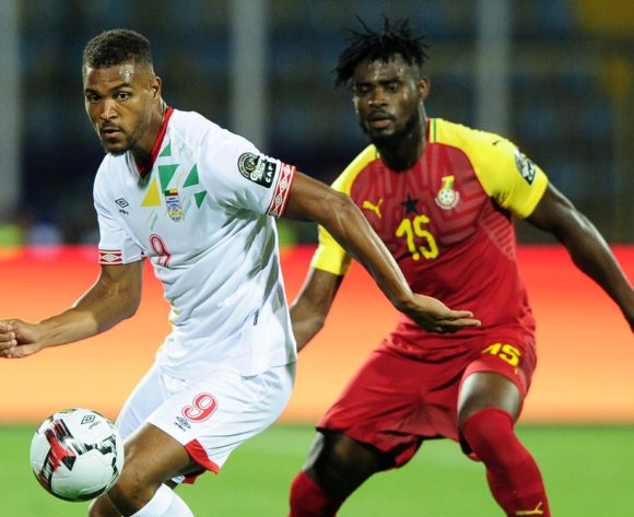 Steve Mounie of Benin is challenged by Nuhu Adams Kasim of Ghana during the 2019 Africa Cup of Nations Finals game between Ghana and Benin at Ismailia Stadium in Ismailia, Egypt on 25 June 2019 © Ryan Wilkisky/BackpagePix