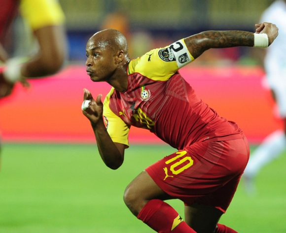 Andre Ayew of Ghana turns to celebrate his goal during the 2019 Africa Cup of Nations Finals game between Ghana and Benin at Ismailia Stadium in Ismailia, Egypt on 25 June 2019 © Ryan Wilkisky/BackpagePix