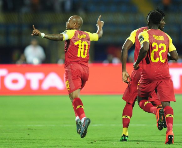 Andre Ayew of Ghana runs to celebrate his goal during the 2019 Africa Cup of Nations Finals game between Ghana and Benin at Ismailia Stadium in Ismailia, Egypt on 25 June 2019 © Ryan Wilkisky/BackpagePix