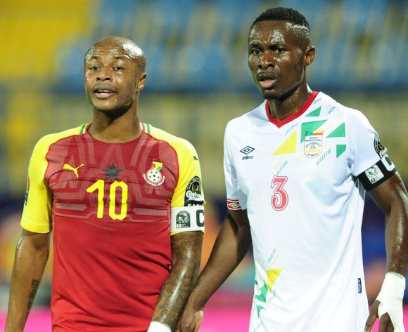 Andre Ayew of Ghana is closely marked by Abdou Adenon of Benin during the 2019 Africa Cup of Nations Finals game between Ghana and Benin at Ismailia Stadium in Ismailia, Egypt on 25 June 2019 © Ryan Wilkisky/BackpagePix