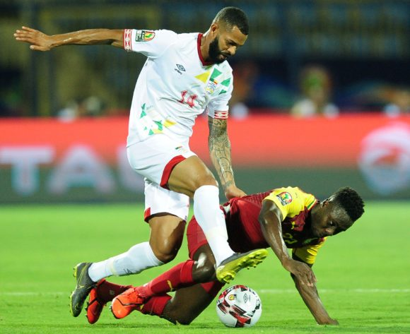 Andrew Kyere Yiadom of Ghana is fouled by Cebio Soukou of Benin during the 2019 Africa Cup of Nations Finals game between Ghana and Benin at Ismailia Stadium in Ismailia, Egypt on 25 June 2019 © Ryan Wilkisky/BackpagePix