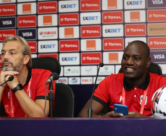 Sebastien Desabre, coach of Uganda and Denis Onyango of Uganda during the 2019 Africa Cup of Nations Finals Uganda press conference at Cairo International Stadium, Cairo, Egypt on 25 June 2019 ©Samuel Shivambu/BackpagePix