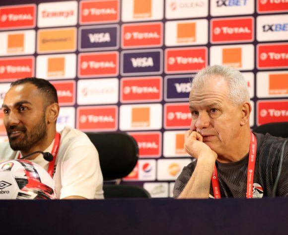 Ahmed El Mohamady of Egypt and Javier Aguirre, coach of Egypt during the 2019 Africa Cup of Nations Finals Eqypt press conference at Cairo International Stadium, Cairo, Egypt on 25 June 2019 ©Samuel Shivambu/BackpagePix