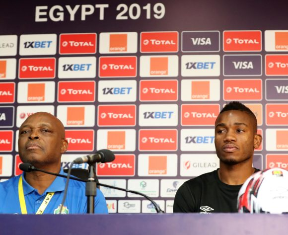 Sunday Chidzambwa, coach of Zimbabwe and Ovidy Karuru of Zimbabwe during the 2019 Africa Cup of Nations Finals Zimbabwe press conference at Cairo International Stadium, Cairo, Egypt on 25 June 2019 ©Samuel Shivambu/BackpagePix