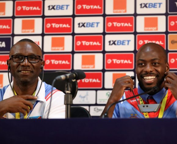 Florent Ibenge, coach of Dr Congo and Youssouf Mulumbu of Dr Congo during the 2019 Africa Cup of Nations Finals Dr Congo press conference at Cairo International Stadium, Cairo, Egypt on 25 June 2019 ©Samuel Shivambu/BackpagePix