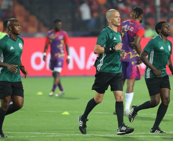 Match officials warm up during the 2019 Africa Cup of Nations Finals football match between Egypt and DR Congo at the Cairo International Stadium, Cairo, Egypt on 26 June 2019 ©Gavin Barker/BackpagePix