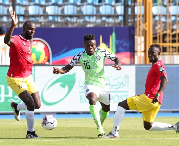 Moses Simon of Nigeria challenged by Ernest Seka Boka (l) and Naby Deco Keita of Guinea during the 2019 Africa Cup of Nations match between Nigeria and Guinea at the Alexandria Stadium, Alexandria on the 26 June 2019 ©Muzi Ntombela/BackpagePix
