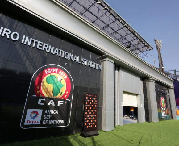 CAF Branding during the 2019 Africa Cup of Nations Finals match between Uganda and Zimbabwe at Cairo International Stadium, Cairo, Egypt on 26 June 2019 ©Samuel Shivambu/BackpagePix