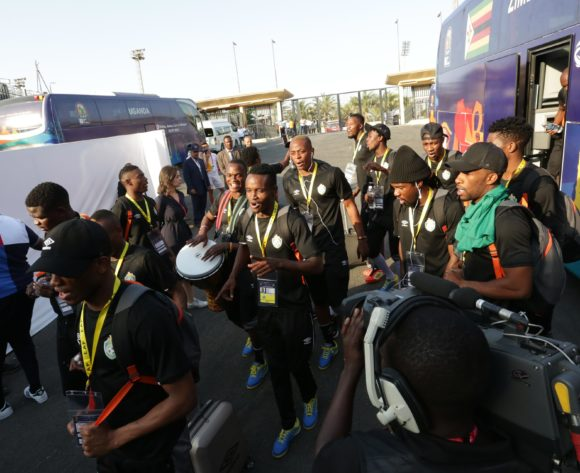 Zimbabwe players arrives during the 2019 Africa Cup of Nations Finals match between Uganda and Zimbabwe at Cairo International Stadium, Cairo, Egypt on 26 June 2019 ©Samuel Shivambu/BackpagePix