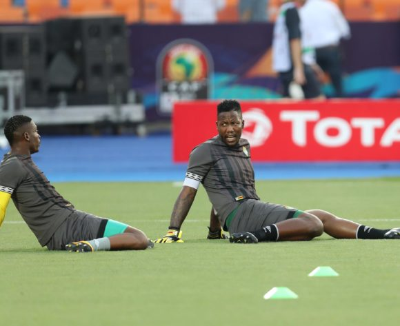 Elvis Chipezeze and George Chigova of Zimbabwe warm up during the 2019 Africa Cup of Nations Finals match between Uganda and Zimbabwe at Cairo International Stadium, Cairo, Egypt on 26 June 2019 ©Samuel Shivambu/BackpagePix