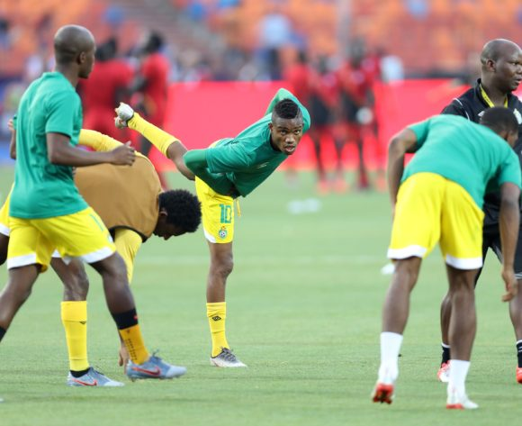Ovidy Karuru of Zimbabwe leads a warm up during the 2019 Africa Cup of Nations Finals match between Uganda and Zimbabwe at Cairo International Stadium, Cairo, Egypt on 26 June 2019 ©Samuel Shivambu/BackpagePix