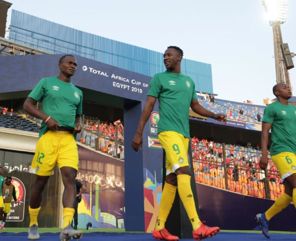 Jimmy Dzingai, Evans Rusike and Alec Mudimu of Zimbabwe leads a warm up during the 2019 Africa Cup of Nations Finals match between Uganda and Zimbabwe at Cairo International Stadium, Cairo, Egypt on 26 June 2019 ©Samuel Shivambu/BackpagePix