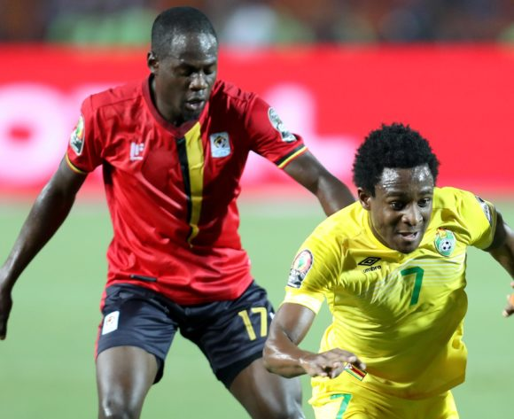 Talent Chawapihwa of Zimbabwe challenged by Faruku Miya of Uganda during the 2019 Africa Cup of Nations Finals match between Uganda and Zimbabwe at Cairo International Stadium, Cairo, Egypt on 26 June 2019 ©Samuel Shivambu/BackpagePix