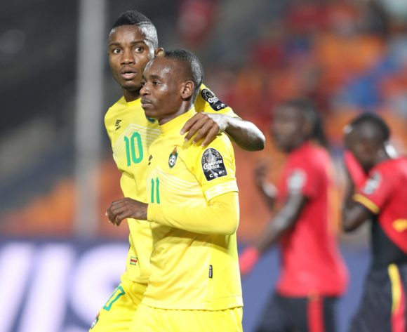 Khama Billiat celebrates goal Ovidy Karuru of Zimbabwe during the 2019 Africa Cup of Nations Finals match between Uganda and Zimbabwe at Cairo International Stadium, Cairo, Egypt on 26 June 2019 ©Samuel Shivambu/BackpagePix