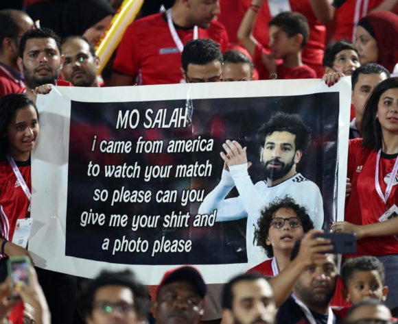 Egypt fans holding Mohamed Salah of Egypt post during the 2019 Africa Cup of Nations Finals match between Egypt and Dr Congo at Cairo International Stadium, Cairo, Egypt on 26 June 2019 ©Samuel Shivambu/BackpagePix