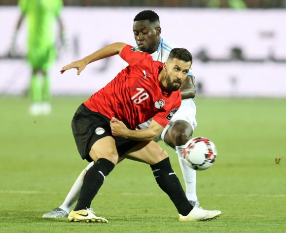 Abdallah El Said of Egypt challenged by Wilfred Moke of DR Congo during the 2019 Africa Cup of Nations Finals match between Egypt and Dr Congo at Cairo International Stadium, Cairo, Egypt on 26 June 2019 ©Samuel Shivambu/BackpagePix