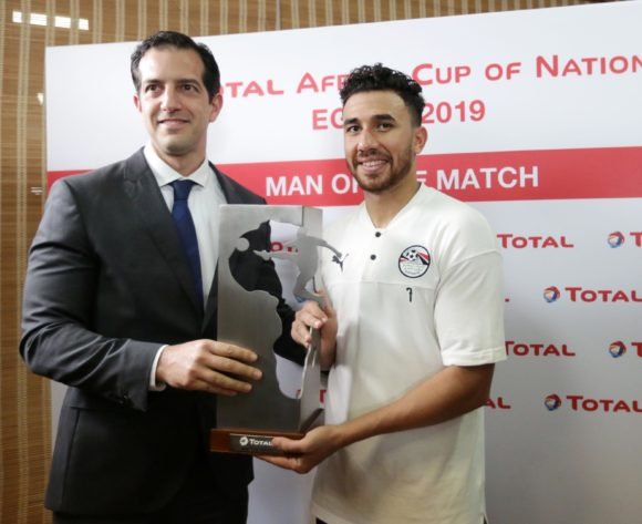 Trezeguet of Egypt won Total Man of the match during the 2019 Africa Cup of Nations Finals match between Egypt and Dr Congo at Cairo International Stadium, Cairo, Egypt on 26 June 2019 ©Samuel Shivambu/BackpagePix